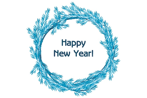 Tradycyjny kreskówka wektor niebieski wieniec świerk szczęśliwego nowego roku