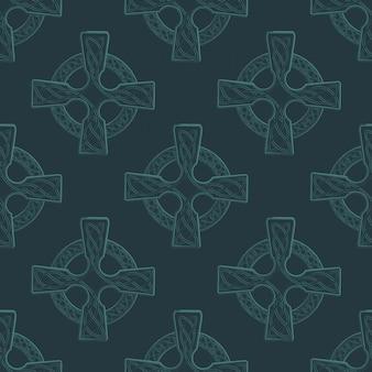 Tradycyjny krzyż celtycki w kółku ozdobiony irlandzkim ornamentem tkanym. st. patrick's day uroczysty wzór.