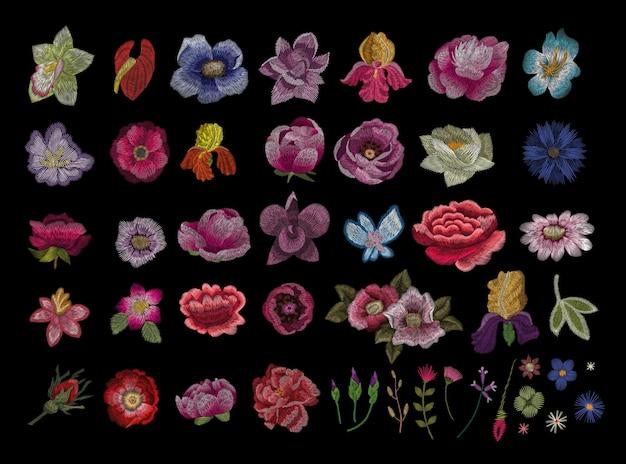 Tradycyjny ludowy stylowy haft kwiatowy.