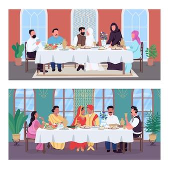 Tradycyjny orientalny zestaw płaski kolor obiad weselny. małżeństwo indian i muzułmanów. różnorodność kulturowa postaci z kreskówek 2d z narodowymi dekoracjami wnętrz na kolekcji tła