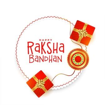 Tradycyjny projekt karty raksha bandhan z pudełkami na prezenty i rakhi