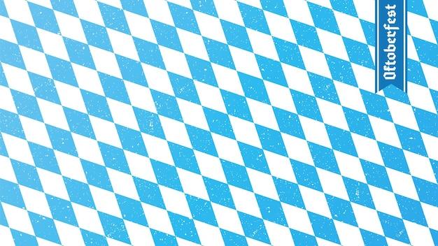 Tradycyjny romb oktoberfest niebiesko-biały nadruk flaga bawarii