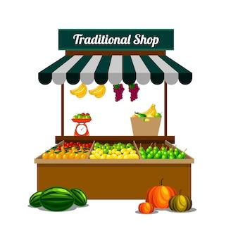 Tradycyjny sklep z owocami na wektorze