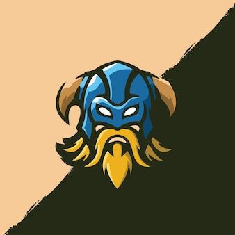 Tradycyjny strój bojowy zbroi wikingów postać z kreskówki - szablon logo