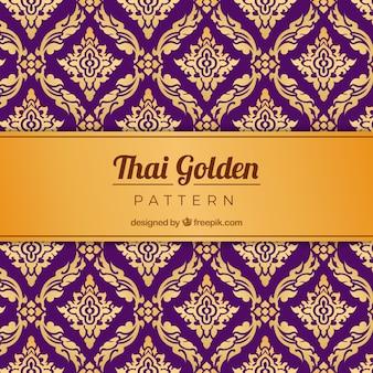Tradycyjny tajski wzór w złotym stylu