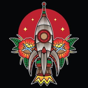 Tradycyjny tatuaż flash rakietowy