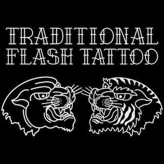 Tradycyjny tatuaż głowy tygrysa i czarnej pantery