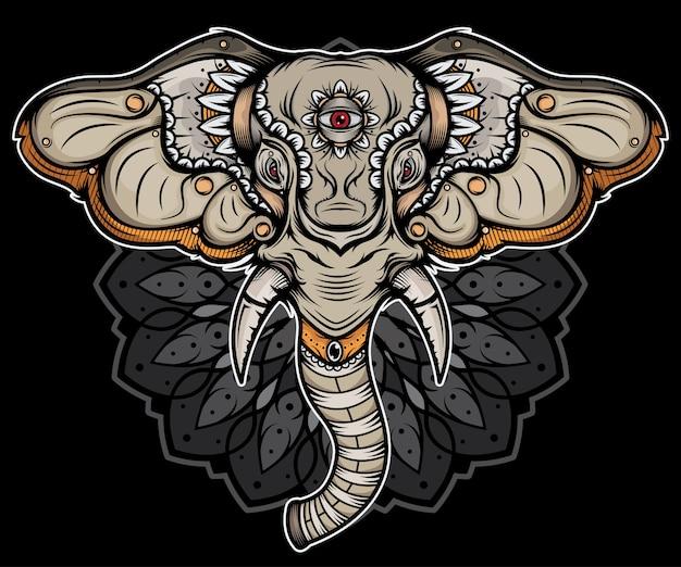 Tradycyjny tatuaż z głową słonia