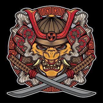Tradycyjny tatuaż z maską samurajską