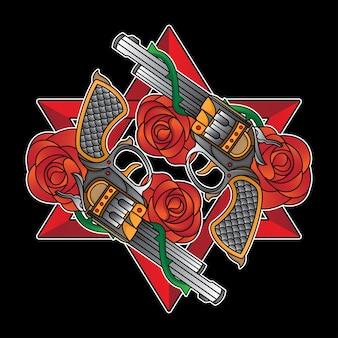 Tradycyjny tatuaż z pistoletem