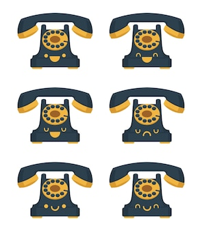 Tradycyjny telefon ilustracja kreskówka kawaii