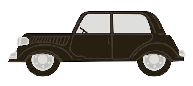 Tradycyjny transport, odizolowany czarny samochód z masywną karoserią i drzwiami. projekt auto, vintage lub retro modelu pojazdu. podróże i transport, wyścigi kolekcjonerskie. wektor w stylu płaskiej