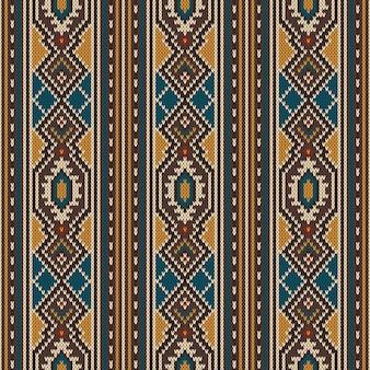 Tradycyjny tribal aztec wzór na wełnianej dzianinie tekstury