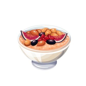 Tradycyjny Turecki Deser Ashure, Ilustracja Wektorowa Pudding Noego. Premium Wektorów