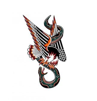 Tradycyjny wąż orła tatoo