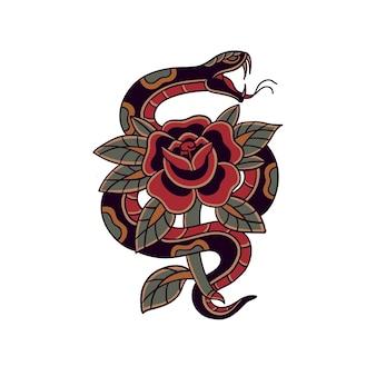 Tradycyjny wąż tatuaż
