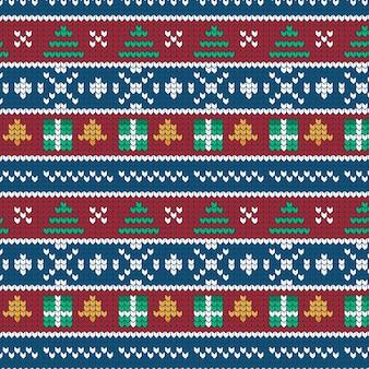 Tradycyjny wzór świąteczny z dzianiny