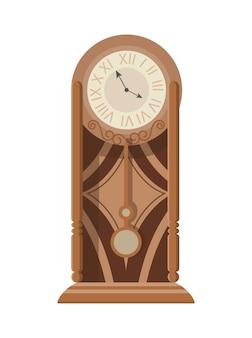 Tradycyjny zegar wahadłowy stojący na podłodze lub stole z dekoracją rzeźbioną w drewnie.