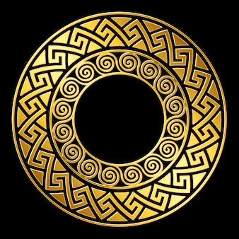 Tradycyjny złoty okrągły ornament grecki, wzór meander