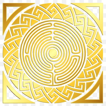 Tradycyjny złoty okrągły ornament grecki