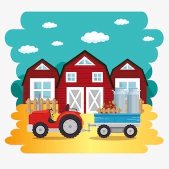 Traktor na scenie farmy