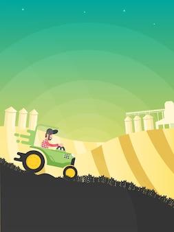 Traktor w tle pola