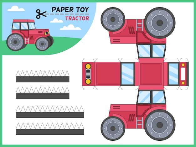 Traktorowa zabawka do cięcia papieru. dzieci ręcznie robione gra edukacyjna do druku model papieru 3d, arkusz z elementami ciągników rolniczych do cięcia, przedszkolne rzemiosło puzzle zabawka kreskówka wektor płaskie na białym tle ilustracja