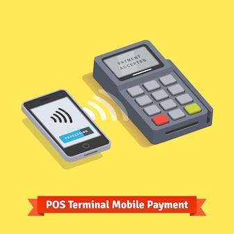 Transakcja bezprzewodowej płatności mobilnej terminala pos
