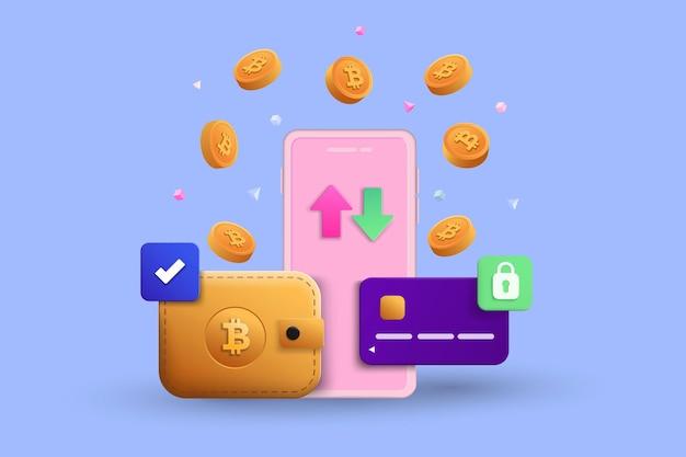 Transakcja kryptowalutowa i infografika bankowości mobilnej. wyślij pieniądze. portfel cyfrowy bitcoin. koncepcja 3d płatności elektronicznych. izometryczne ilustracji wektorowych międzynarodowych przelewów pieniędzy