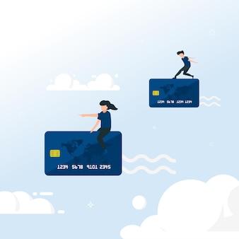 Transakcja z ilustracją karty kredytowej. latający ludzie na karcie kredytowej. łatwa płatność.