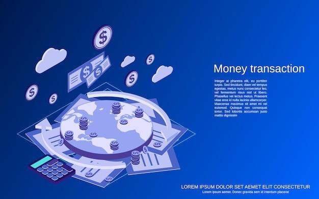 Transakcje pieniężne, ilustracja koncepcja izometryczny płaski przelew finansowy