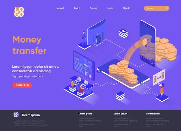 Transfer pieniędzy 3d izometryczna ilustracja strony docelowej z postaciami ludzi