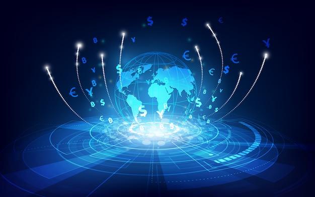 Transfer pieniędzy. globalna waluta. giełda papierów wartościowych. ilustracji.