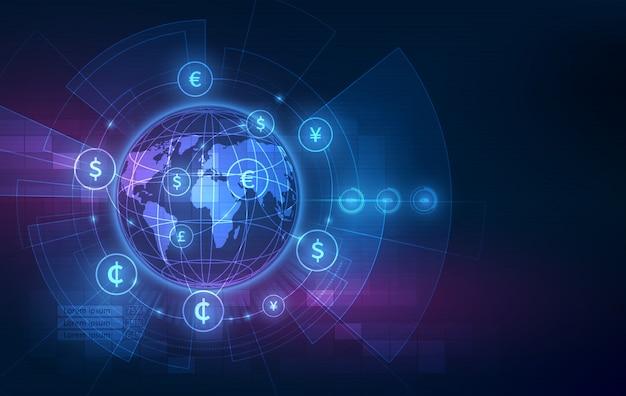 Transfer pieniędzy. globalna waluta. giełda papierów wartościowych.