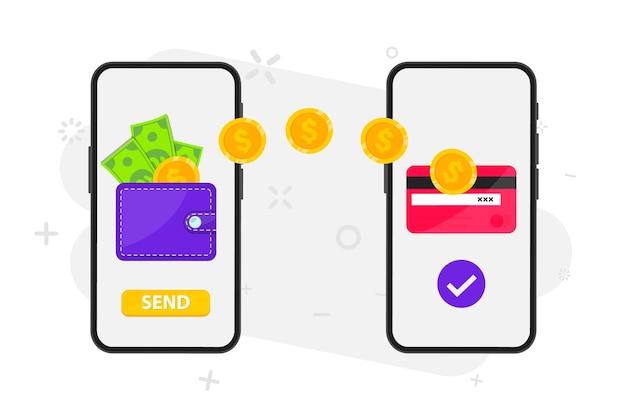 Transfer pieniędzy. płatność online. wysyłaj i odbieraj pieniądze bezprzewodowo za pomocą telefonu. telefon z aplikacją do płatności bankowych. przepływ kapitału, zarabianie. oszczędności finansowe lub ekonomia. pieniądze online na telefonie komórkowym
