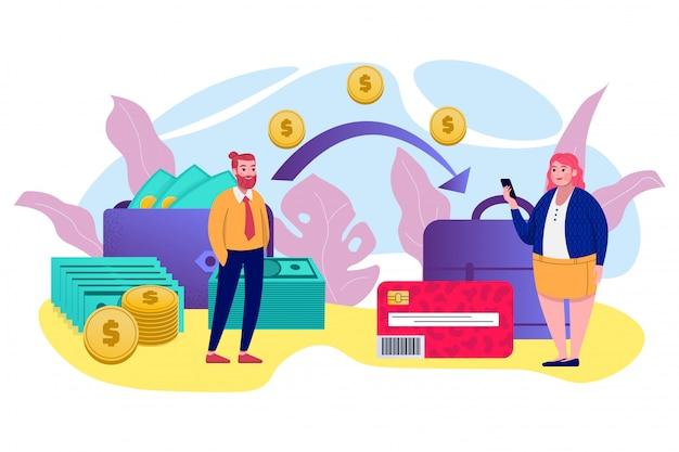 Transfer pieniędzy, transakcja mobilna, płatność internetowa, bankowość, dolary gotówkowe i monety, technologia komunikacji kart kredytowych, ilustracja bankowości internetowej. przelewy i malutcy ludzie.
