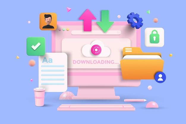 Transfer plików, usługa udostępniania danych, koncepcja cyfrowego transferu dokumentów z kształtami 3d, folder, trybik, chmura, infografika na niebieskim tle. ilustracja wektorowa 3d