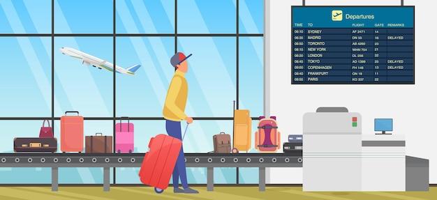 Transfer w podróży na międzynarodowym lotnisku osoba patrząca na rozkład lotów