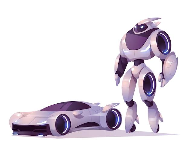Transformator robota w postaci androida i samochodu na białym tle. ilustracja kreskówka wektor futurystyczny cyborg, mechaniczny żołnierz, postać cyborga