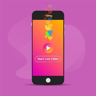 Transmisja na żywo ilustracyjny pojęcie z smartphone