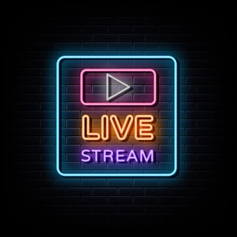 Transmisja na żywo neonowe logo neonowy znak i symbol