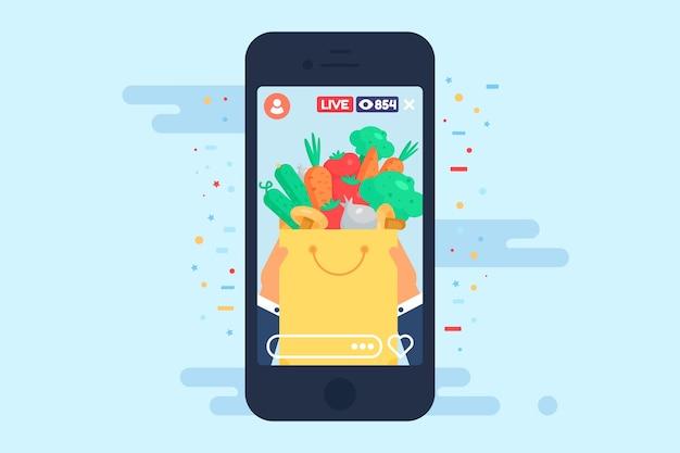 Transmisja na żywo o ilustracji koncepcji zdrowej żywności