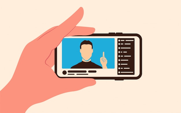 Transmisja wideo na żywo z nadawcą i czatem na ekranie telefonu.
