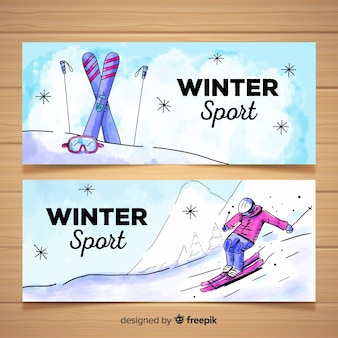 Transparent akwarela zimowy sport