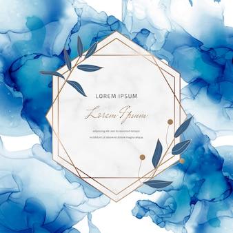 Transparent atrament niebieski alkohol z geometrycznymi marmurowymi ramkami i liści. modny szablon