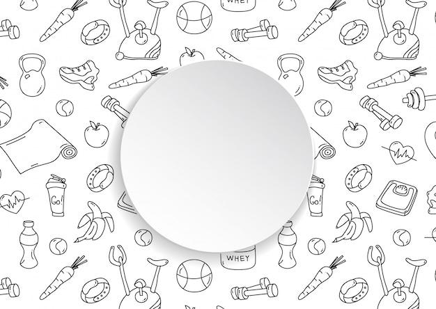 Transparent fitness z ręcznie rysowane wzór siłowni i 3d papierowy talerz. doodle ikony dla zdrowego treningu i ćwiczeń. grafika liniowa stylu życia sportowego. stylowy baner fitness do sprzedaży, ofert specjalnych, ulotek i reklam.