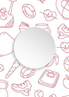 Transparent fitness z ręcznie rysowane wzór siłowni i 3d papierowy talerz.