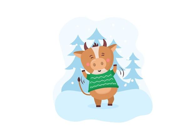 Transparent kartki świątecznej z uroczymi zwierzętami zimowymi z ręcznie rysowanymi prezentami uroczymi leśnymi postaciami