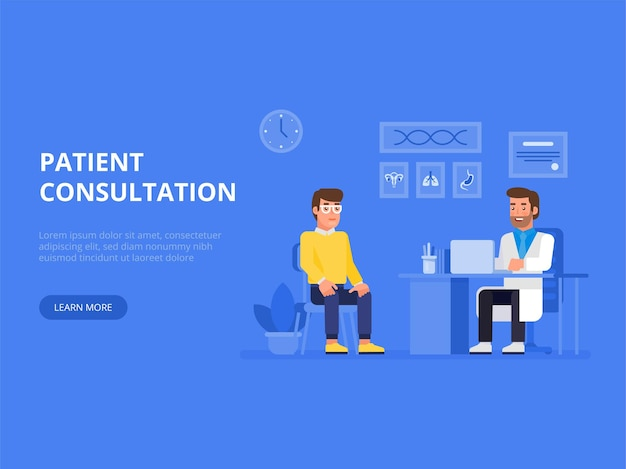 Transparent koncepcja lekarza i pacjenta z postaciami. konsultacja pacjenta.