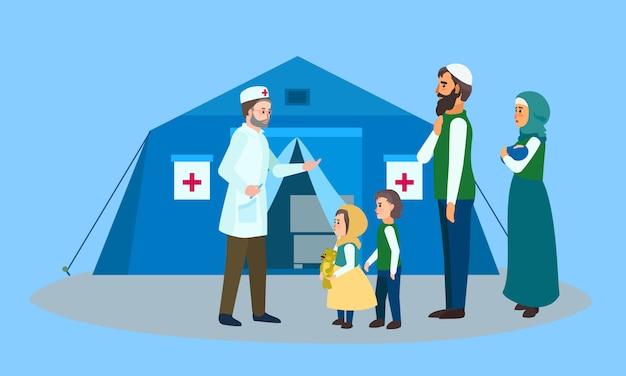 Transparent koncepcja namiot lekarza rodzinnego migrantów, płaski.